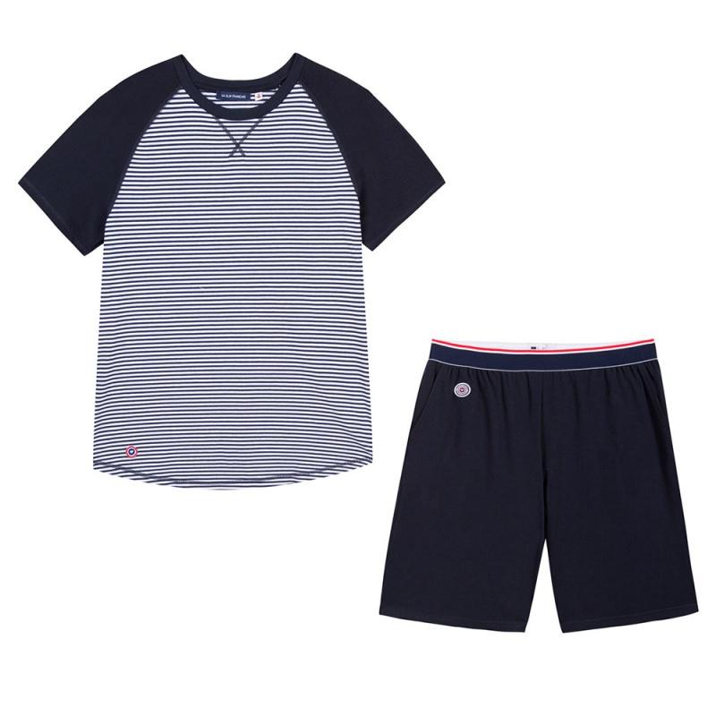 le zzz marini re ensemble pyjama t shirt et short homme. Black Bedroom Furniture Sets. Home Design Ideas