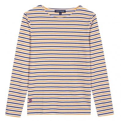 Le Malo - T-shirt marinière safran, indigo et blanc