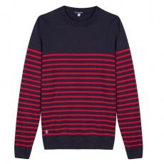 Le Olivier - Pull marinière marine et rouge