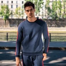 Le bastien MARINE/ECRU/ROUGE - Sweat MARINE/ECRU/ROUGE