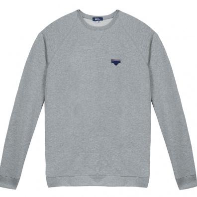 Le Raglan gris - Sweat gris à écusson