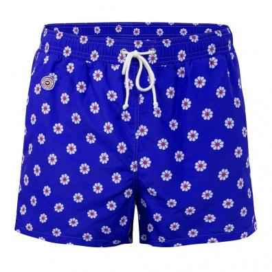 Le Pâquerette - Short de bain bleu à motif fleuri