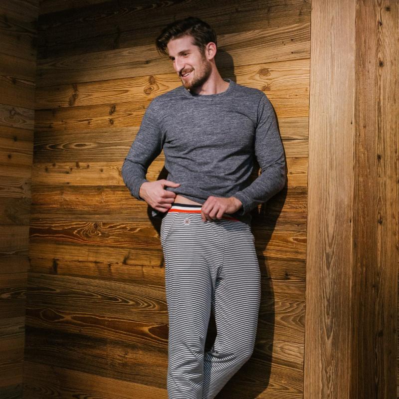 bas de pyjama ray gris blanc pour homme le slip fran ais. Black Bedroom Furniture Sets. Home Design Ideas