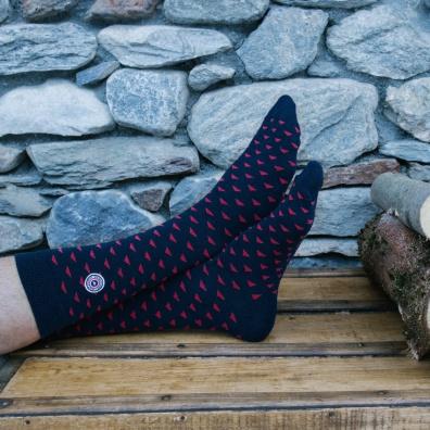 Les Lucas Flaine - Chaussettes marine et rouge