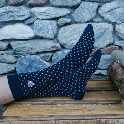 Les Lucas Houches - Chaussettes marine à motifs