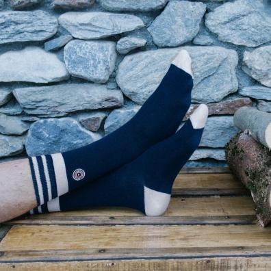 Les Lucas Tignes - Chaussettes bleues et blanches