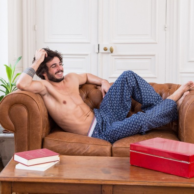 Le Charlot losange - Bas de pyjama bleu imprimé