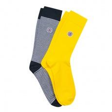 Les Lucas Duo - Duo de chaussettes jaunes et marinières