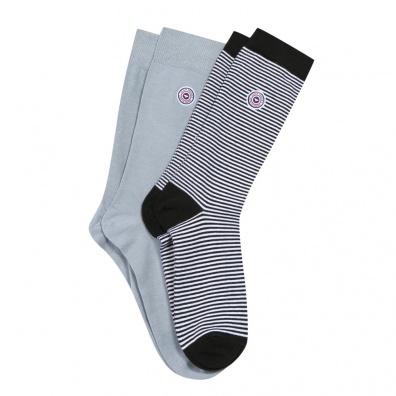 Les Lucas Duo - Duo de chaussettes grises et rayées noires