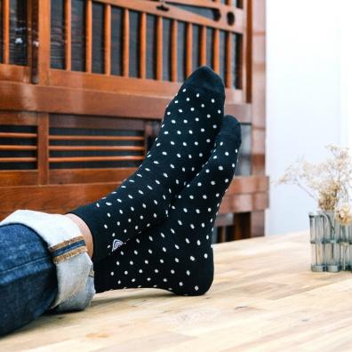 Les Lucas Pois - Chaussettes à pois noir et blanc