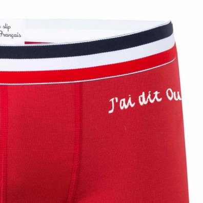 J'ai dit oui ! - Boxer rouge broderie blanche