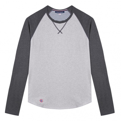 Le Bobby Saint James - T-shirt raglan gris chiné x Saint James