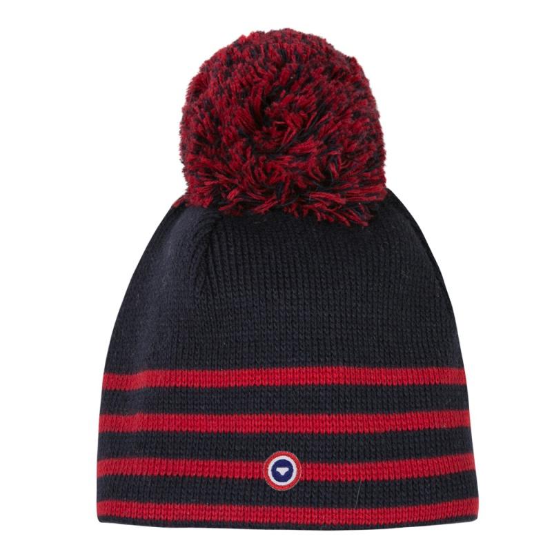 le c sar bonnet laine mixte marine ray rouge homme. Black Bedroom Furniture Sets. Home Design Ideas
