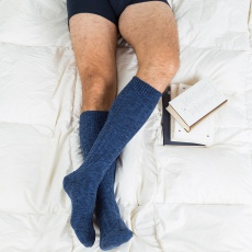 les Alfred bleues - Chaussettes hautes bleues homme