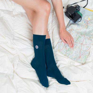 Les Nessy canard - chaussettes fil d'écosse bleu canard femme