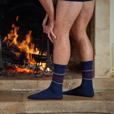 Les Lucas Flocon - Chaussettes bleues marines imprimé flocon homme