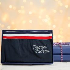 Le Marius Paquet Cadeau Noël - Boxer Bleu Marine Edition limitée brodé argent