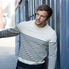 Le Marinière - pull homme en laine fond blanc