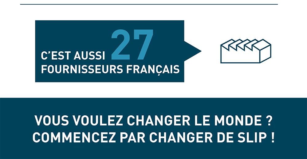 Le Slip Français travaille avec 27 fournisseurs exclusivement français. Si vous voulez changer le monde, commencez par changer de Slip.
